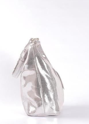 Шикарная кожаная сумка-лазерка, светлое серебро3 фото