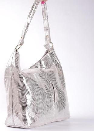 Шикарная кожаная сумка-лазерка, светлое серебро2 фото