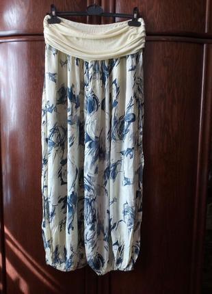 Лёгкие невесомые широкие комфортные брюки багги м-л