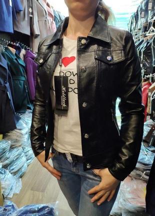 17  стильная просто шикарная куртка/ косуха из экокожи.