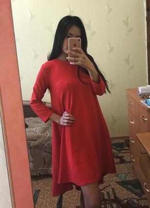 Платье вечернее длинное миди асимметрия оверсайз юбка клёш солнце красное фактурное