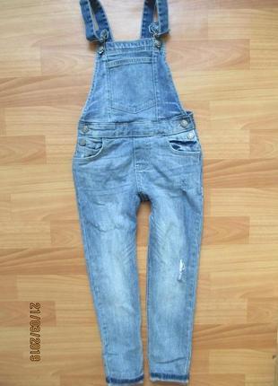 Крутой джинсовый комбинезон matalan с потёртостями на 8 лет