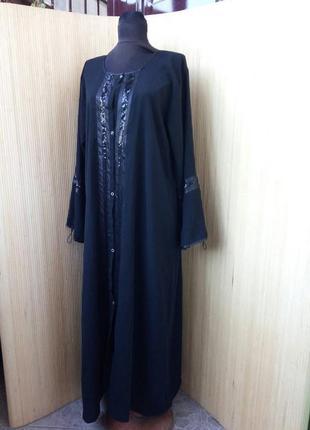 Чёрное длинное платье халат / абая ml