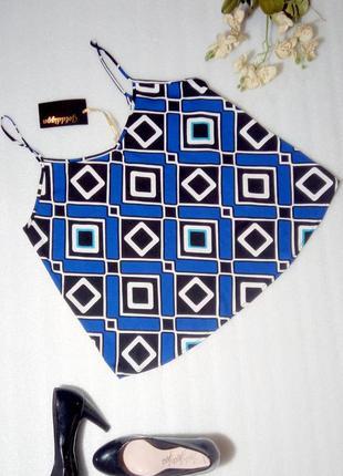 Классный синий топ блуза майка  в геометрический принт от goldigga uk12
