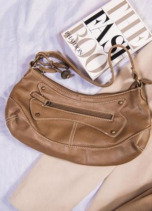Маленькая сумка коричневая из 2000х, бежевая сумка клатч 2000е