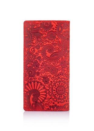 """Кожаный бумажник hi art wp-02 shabby red berry """"mehendi art""""2"""