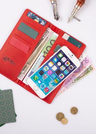"""Кожаный бумажник hi art wp-02 shabby red berry """"mehendi art""""5"""