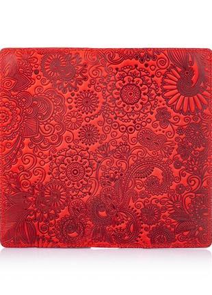 """Кожаный бумажник hi art wp-02 shabby red berry """"mehendi art""""3"""