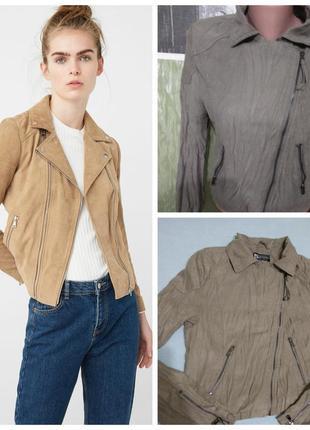 Куртка- ветровка - косуха короткая ( жатка) цвета хаки/тренд сезона