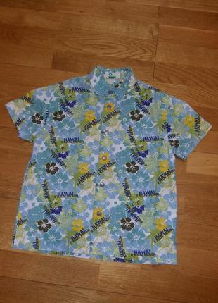 Яркая гавайская рубашка с коротким рукавом шведка o*kids на 6-7 лет