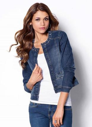 Темно-синяя джинсовая куртка (деним) приталенная, без воротника, на пуговицах/бренд- zoi