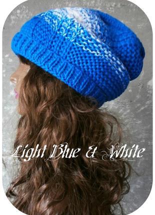 Любая расцветка! хлопковая фактурная шапка beanie с отворотом/косы/светло-синий, белый1