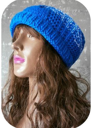 Любая расцветка! хлопковая фактурная шапка beanie с отворотом/косы/светло-синий, белый3