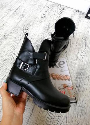 Новые натуральные кожаные демисезонные ботинки черевички деми кожа