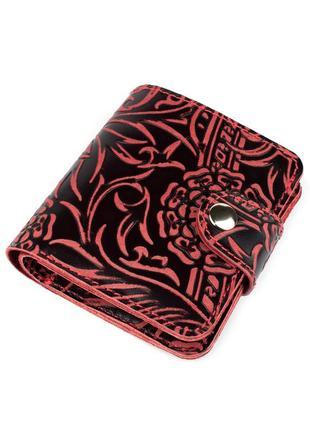 Женский кожаный кошелек софия (бордовый цветочек)