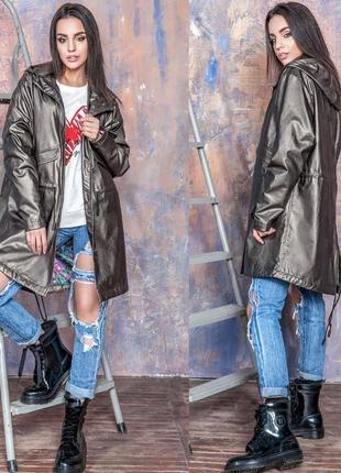 Трендова парка вітровка куртка демі з еко-шкіри