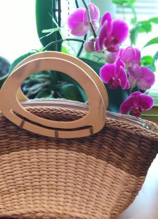 Соломенная летняя плетеная сумка с деревянными ручками на молнии из соломы