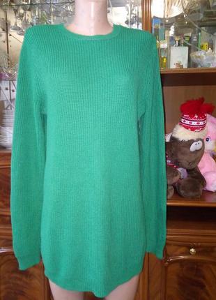 Изумрудного цвета кофта туника теплое платье ддемпер