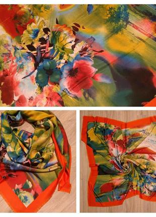 Яркие весенние платки, шали 130*130 см, стильный аксессуар, прекрасный подарок