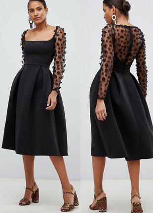 Кружевное платье  миди с квадратным вырезом и 3d-цветами c cайта asos