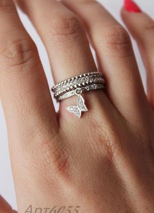 Серебряное кольцо 925 пробы покрытое родием