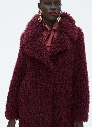 Пальто шуба из мягкой искусственной овчины , размер s