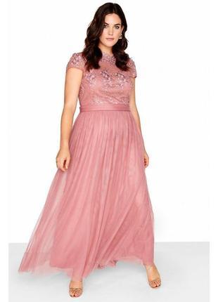Вечернее платье нежно-розового цвета7 фото