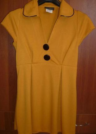 Платье миди темно желтое s-m, сукня коротка міні