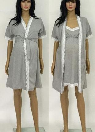 Комплект в роддом с кружевом, халат и ночная рубашка, сорочка, хлопок
