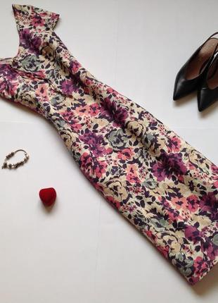 Льняное платье миди с цветочным принтом