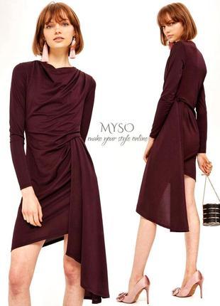 Асимметричное платье с драпировкой винного цвета topshop