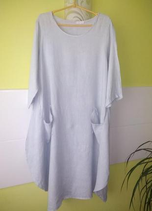 Льняное платье свободного кроя италия