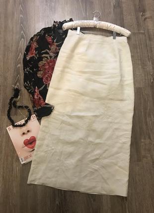 Льняная юбка цвета- айвори