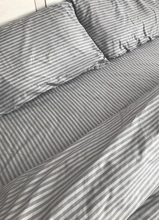 Комплект постельного белья евро в серую полоску