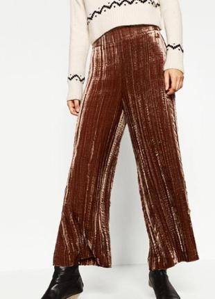 Актуальные велюровые брюки кюлоты №12
