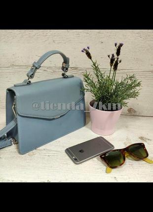 Стильная сумка-чемодан от david jones 5819-2 голубая