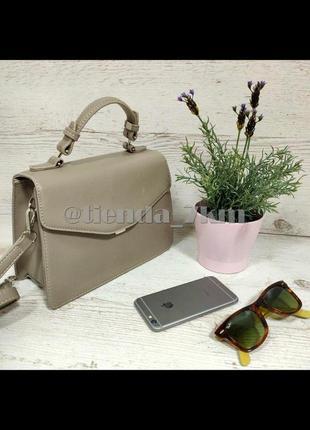 Стильная сумка-чемодан от david jones 5819-2 т.бежевая (серая)