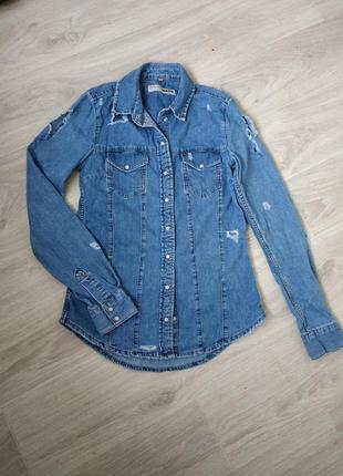 Джинсовая рубашка,женская джинсовая рубашка