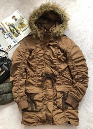 Коричневая демисезонная удлиненная куртка плащ с капюшоном