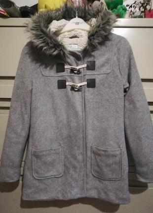 Легкое флисовое пальто дафлкот 12-14 лет