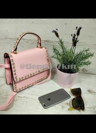 Стильная сумка с камнями f-710 св.розовая