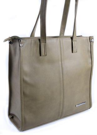 Оливковая квадратная сумка шоппер деловая на плечо
