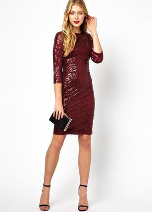 Эффектное бордовое платье миди в пайетках