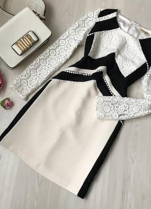 Шикарное ажурное платье беж marc feier размер м