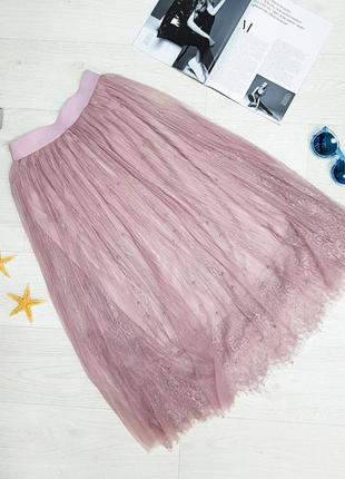 Юбка midi сетка розовая длинная сетка