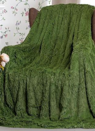 Покрывало пушистик травка зеленое