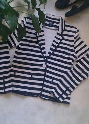 Оригинальный натуральный пиджак жакет в полоску  bloomings est 2012