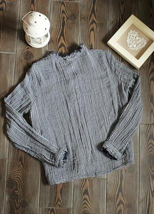 Блуза рубашка свободного кроя в клетку в стиле бохо этно