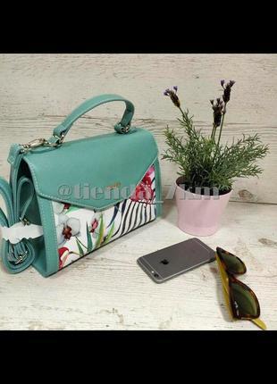 Женская сумка через плечо с цветочный принтом от david jones g-9126-1 зеленая