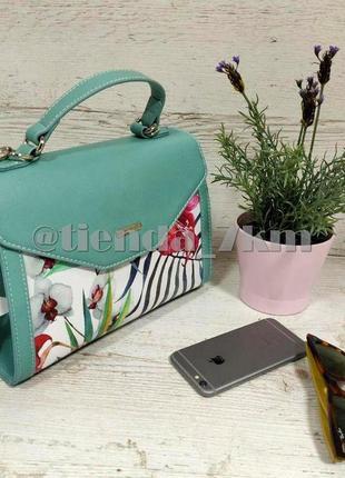 Женская сумка через плечо с цветочный принтом от david jones g-9126-1 зеленая2